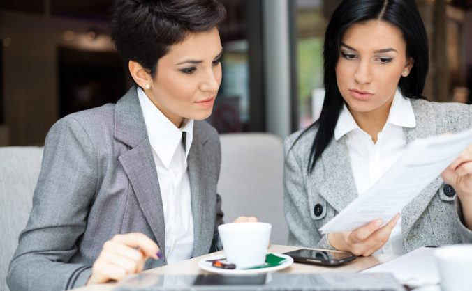 Two business women in meeting